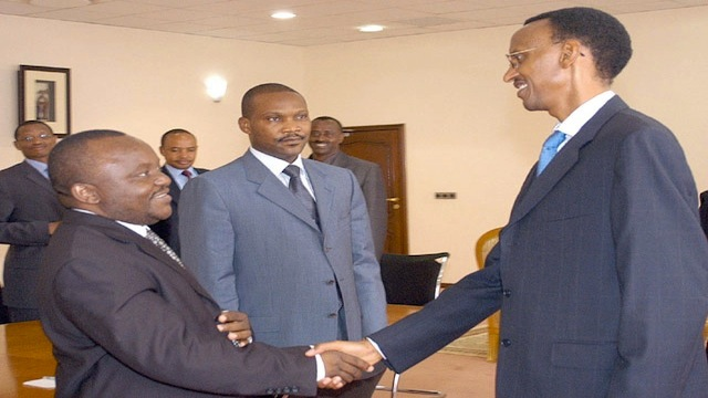 Emmanuel Ndahiro (middle), Personal Doctor, Security Advisor, External Intelligence Chief and Business Partner of Rwandan General Paul Kagame (right)