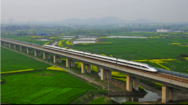 China:  World's longest bridge,  The Danyang–Kunshan Grand Bridge, is a 102.4 miles long viaduct on the Beijing–Shanghai High-Speed Railway.