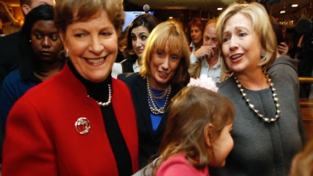 Hillary Clinton and Jean Shaheen, Nashua, NH. Nov 2, 2014