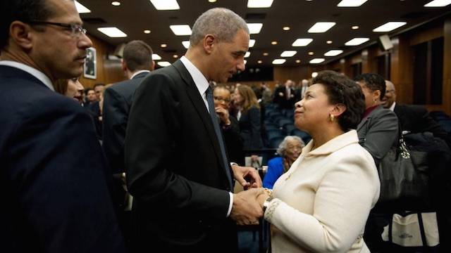 US Attorney Loretta Lynch with US Attorney General Eric Holder