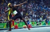 Usain Bolt in Rio 2016, celebrating 100-m gold with his signature pose.